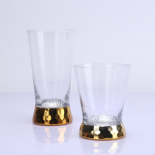 Handmade Engraving And Gold Color Electro Plating Drinking Glass Cup