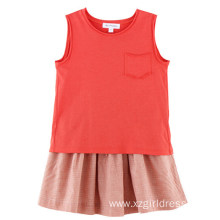 ODM for Cotton Linen Blend Girls T-Shirt 100% Cotton Sleeveless T-Shirt for Kids Girls export to Malawi Factory