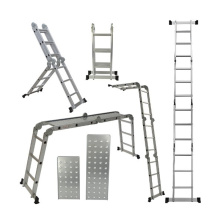 Multi-purpose aluminum extension folding ladder
