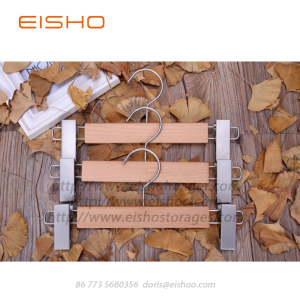 Super Lowest Price for Dress Pants Hangers EISHO Solid Wood Anti-Slip Trouser Clamp Hanger supply to Netherlands Exporter