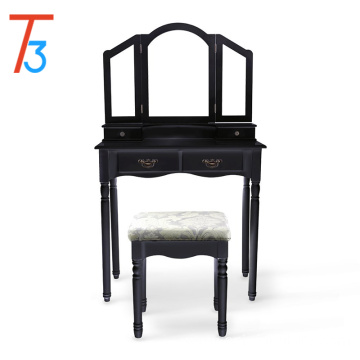 Black wooden dresser dressing table stool set