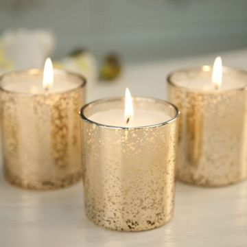 Gold Color Glass Container Candle for Decorative