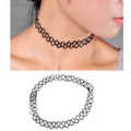 Vintage Stretch Tattoo Choker 90s Necklace With Pendant