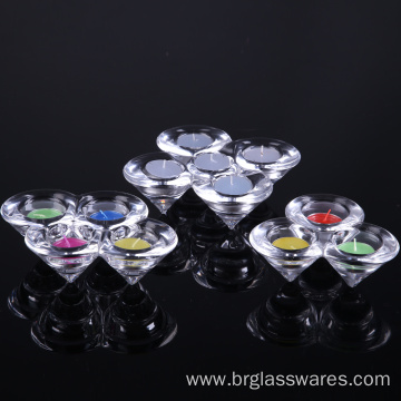 China Manufacturers for Glass Candle Holder Hand Pressed Crystal Cone Shaped Glass Candle Holder export to Poland Manufacturer
