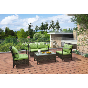 4pcs aluminum PE rattan and waterproof sofa set