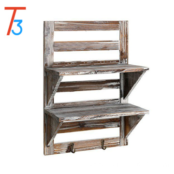 rustic wood wall organizer shelves 2-tier storage rack with 2 hooks