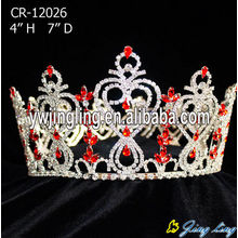 Red Rhinestone Custom Pageant Round Crowns