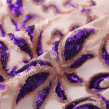 Purple Gold Sequins Lace Embroidery Fabric