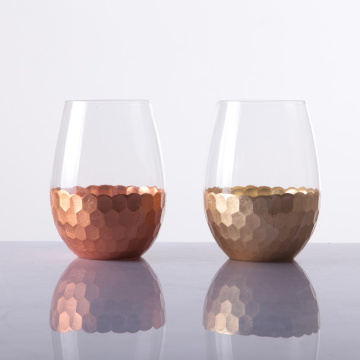 Hand Cut Hammered Stemless Wine Glass 20oz