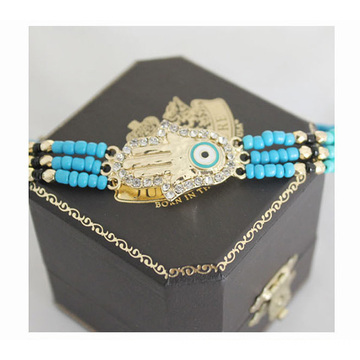 Handmade Adjustable Bead Bracelet With Hamsa Lucky Eye Charm