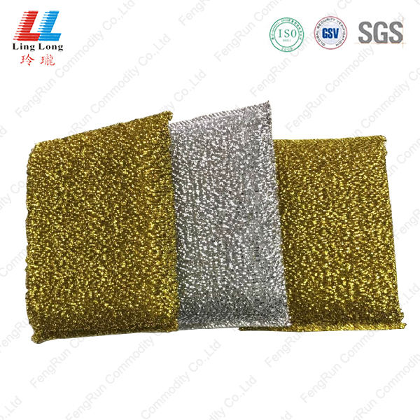 Golden shinning silver kitchenware sponge