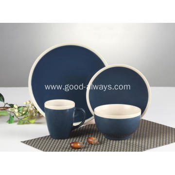 16 pieces dinnerware set,Dark blue Cream