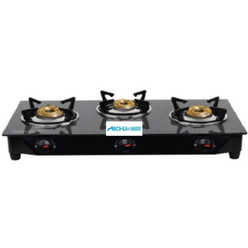 Lifelong Black Glass Top Gas Stove 3 Burner