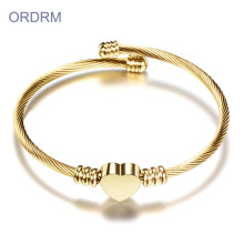 Gold Heart Charm Classic Cable Bangle Bracelet