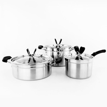 Stainless Steel European Cookware Three-piece Suit