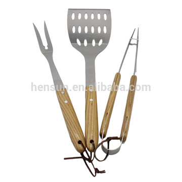 3pcs Wood Handle BBQ Grill Utensils Set
