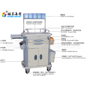 Several drawer anesthetic vehicles cart