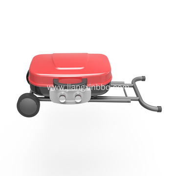 2 Burners Portable Gas Grill With Trolley