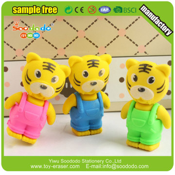 3d eraser animal tiger shaped rubber