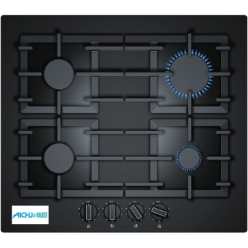 Built-in Black Tempered Glass Gas Hob