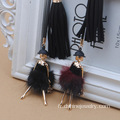 Suede long gland avec Lady Sexy POM POM Charm Necklace