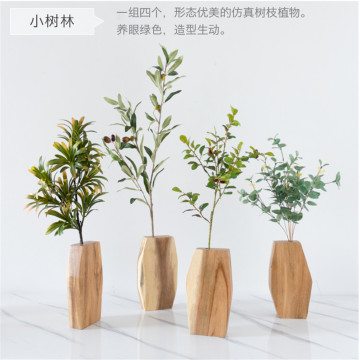 Multilateral Plastic Flowers Wooden Vase Standing