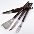 4pcs brown wooden hanle bbq tools set