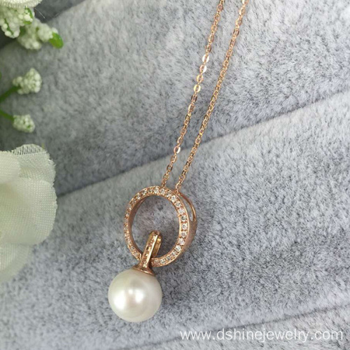 Gold Plated Chain Necklace With Shell Pearl Pendant Necklace