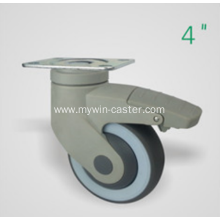 4 Inch Plate Swivel TPR PP Material With Bracket Medical Caster