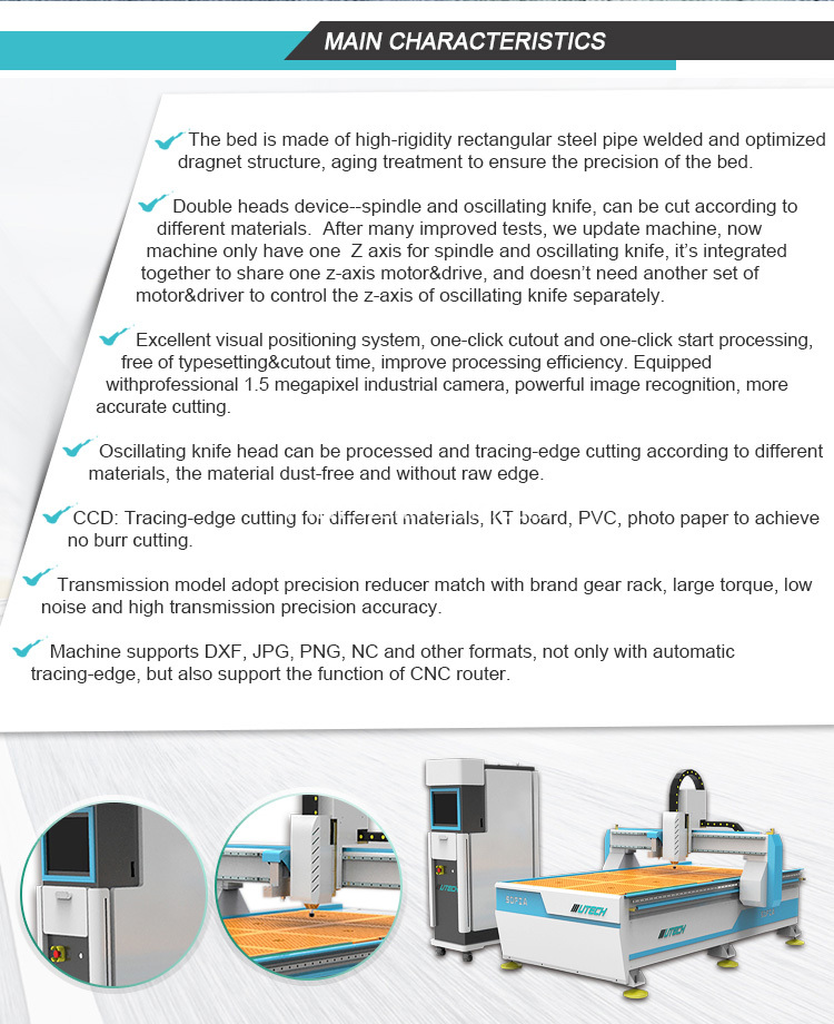 cnc knife cutting machine with V-shape knife and oscillating knife for honeycomb paper cardboard