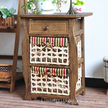 Antique Wood Night Stand Table cabinet with wicker basket drawer for storage