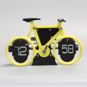 Yellow Bicycle Flip Clock for Decor