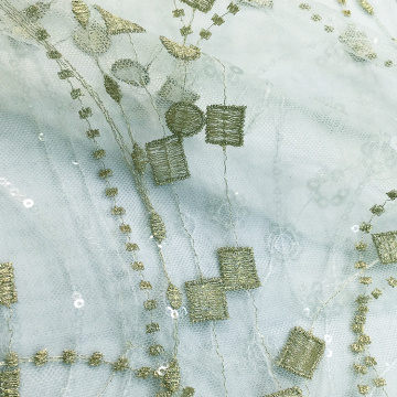 Gold Light Green Lace Embroidery Fabric for Dress