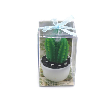 Home decoration cactus shape plant candle