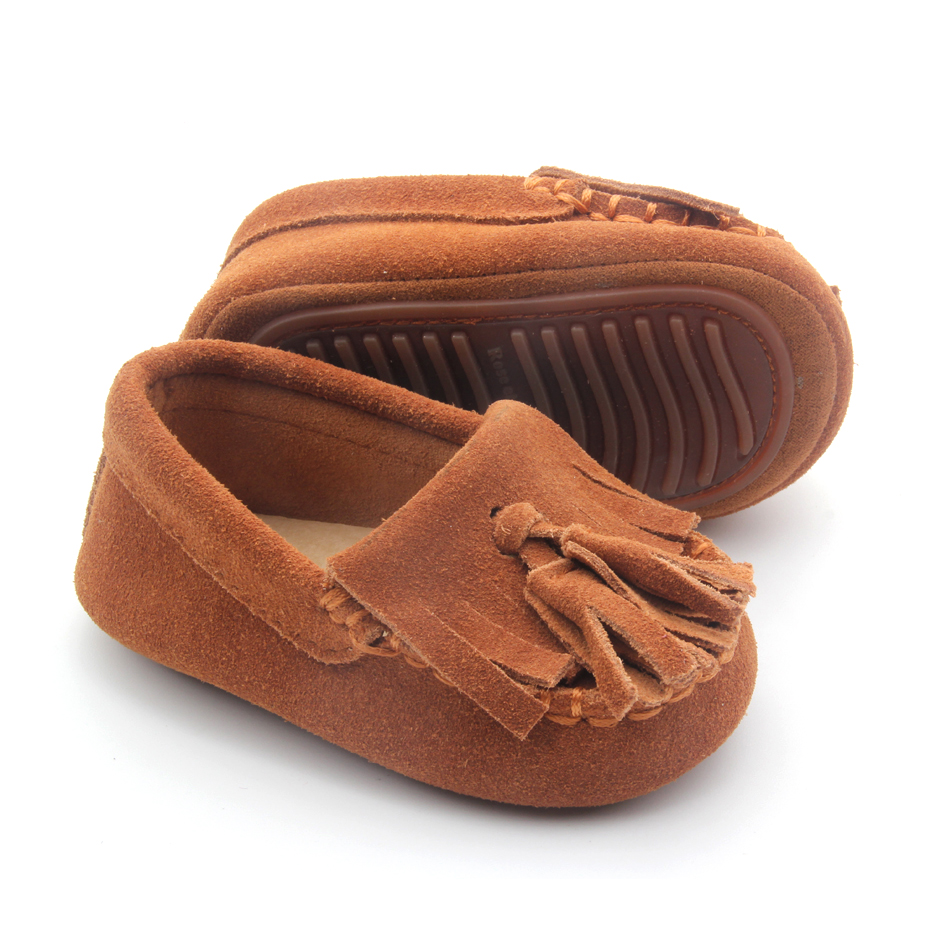 Tassel Brown Rubber Sole Baby Moccasins 2018