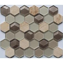 Customized for Hexagon Mosaic Series Hexagon Glass Mixed Stone Decoration Mosaic export to American Samoa Importers