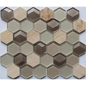 Hexagon Glass Mixed Stone Decoration Mosaic