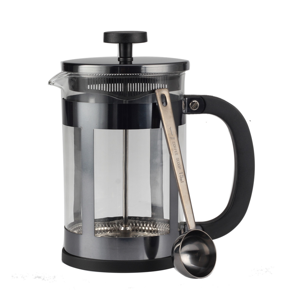 Glass French Press With Stainless Steel Coffee Spoon