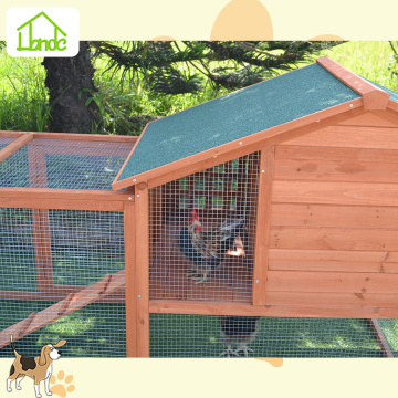 Wooden chicken coop with asphalt roof