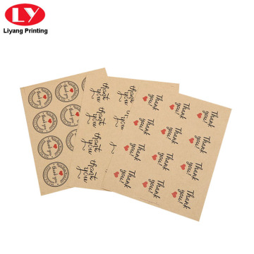 Custom Logo Printed Kraft Paper Brown Sticker