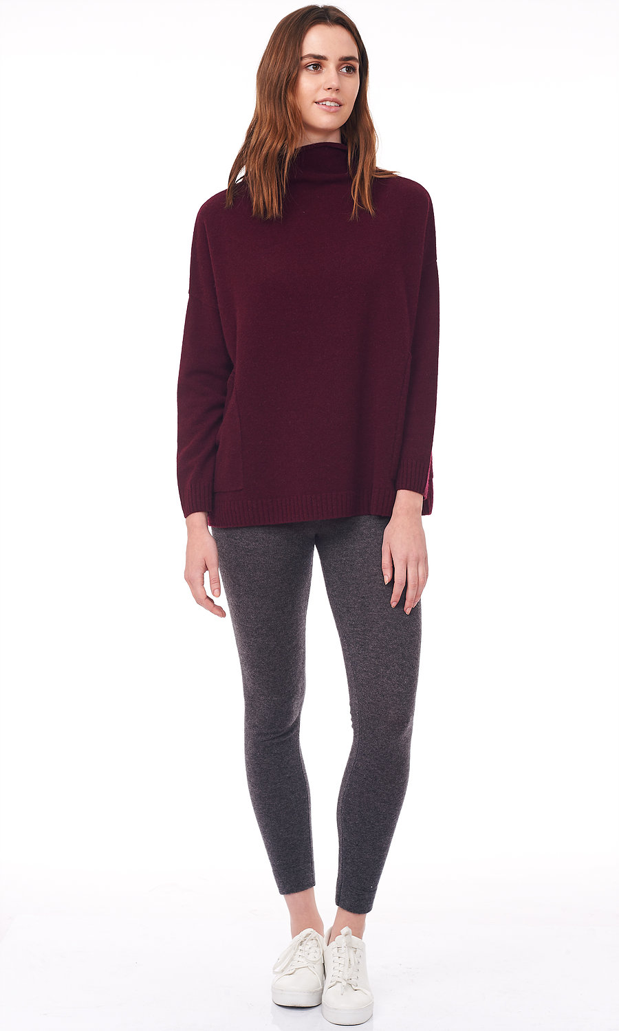 wine rolled turtle neck sweater front