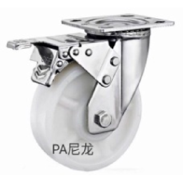 6 inch Stainless steel bracket  PA  heavy  duty  casters with brakes