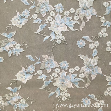Sky Blue handmade Embroidery Flower Design Fabric