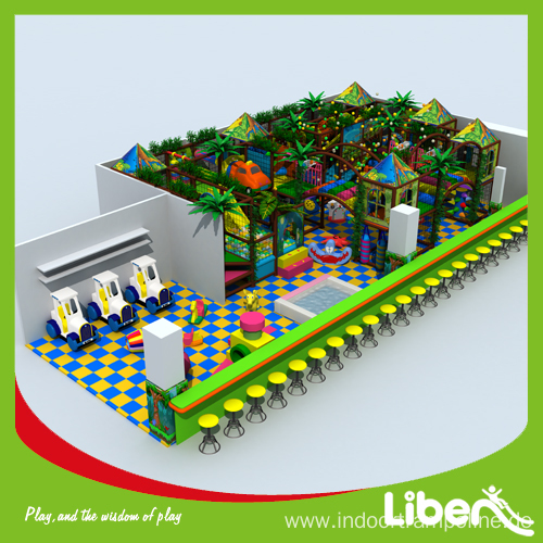Indoor play with slide trampoline barrier