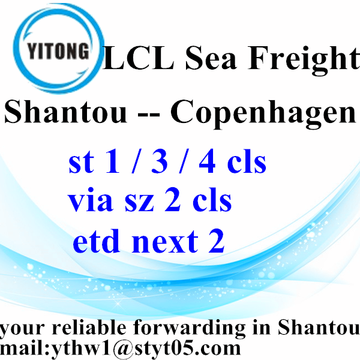 Good Quality for LCL Shipments Global Freight Forwarding by sea Shantou to Copenhagen supply to Portugal Factory