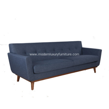 Midcentury 3 Seater Fabric Sofa with Wood Frame