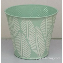 Hand painted tin flower bucket