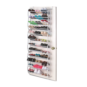 Plastic and Metal 36 Pairs Hanging Over the Door Shoe Rack