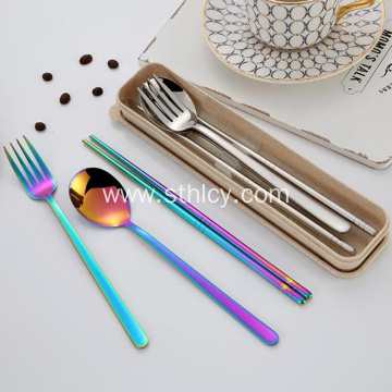 Stainless Steel Student Portable Flatware Set Three-piece