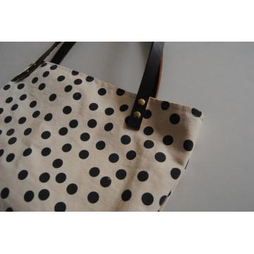 Tote Bag Hand Printed Canvas Leather Handle